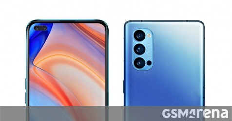 Oppo Reno4 render showcases dual selfie cameras. Specs in toll.