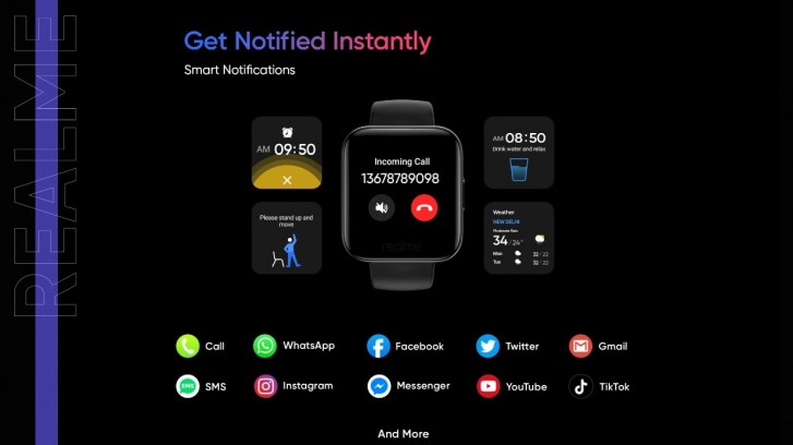 Realme Watch design and features revealed: color touchscreen, colorful straps, and heart rate monitor