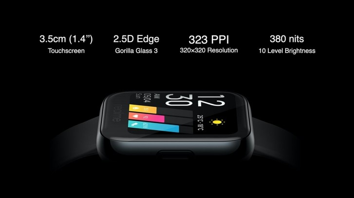 Realme Watch announced: 1.4'' color touchscreen, SpO2 monitor, and up to 9 days battery