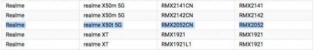 Realme X50t 5G Google Play (top) and 3C (bottom) listings