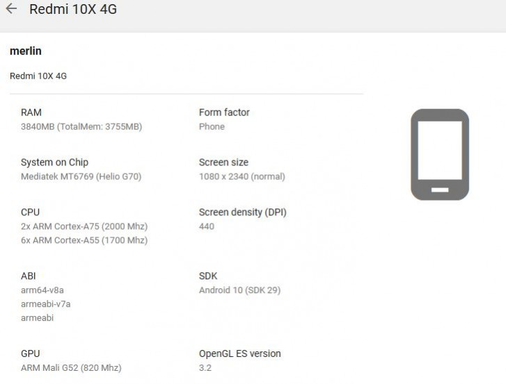 Redmi 10X listed on Google Play Console with slightly lower specs than expected