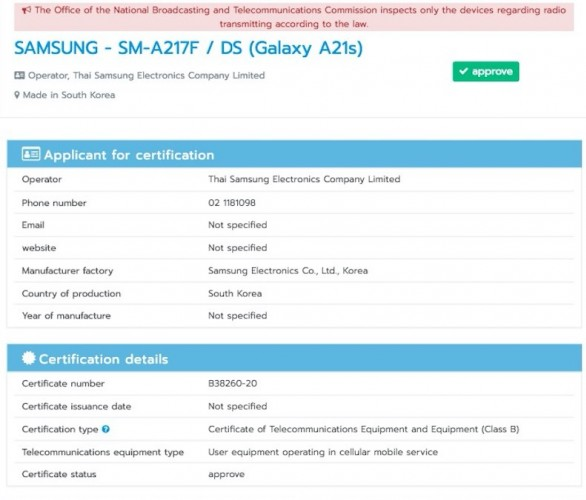 Samsung Galaxy A21s bags NBTC certification, launch imminent