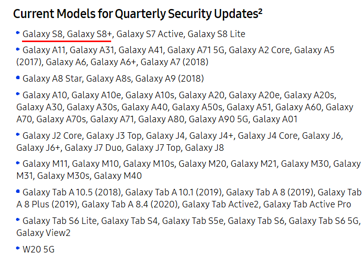 Samsung Galaxy S8 and S8+ moved to quarterly update schedule