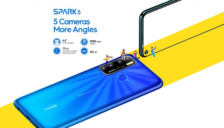 """Tecno Spark 5 unveiled with Android 10, 6.6"""" screen, quad camera ..."""