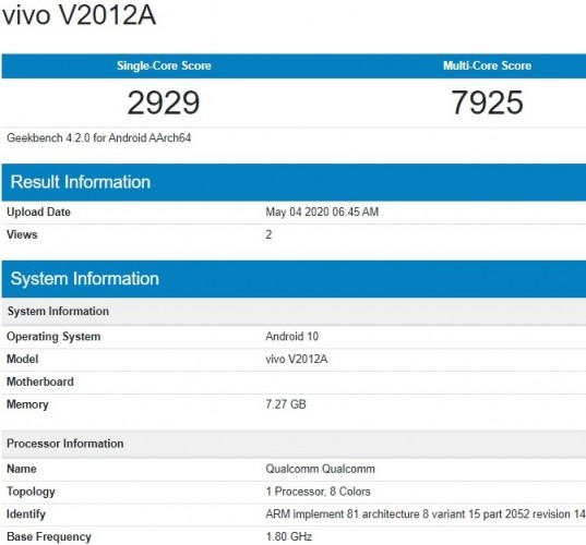 Unknown vivo smartphone visits Geekbench with Snapdragon chipset and 8GB RAM