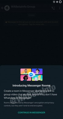 Messenger Rooms integration in WhatsApp
