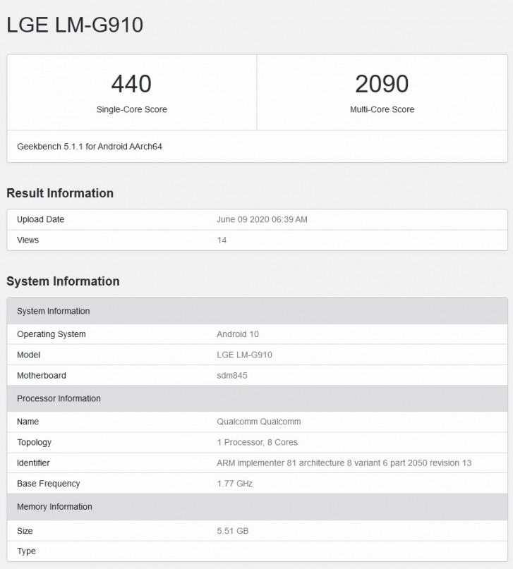 LTE variant of LG Velvet appears in Geekbench with Snapdragon 845 and 6GB of RAM