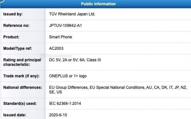 OnePlus Nord TUV Rheinland certification