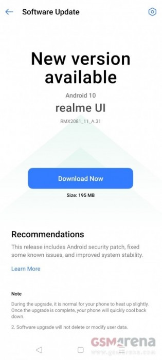 Realme X3 software update