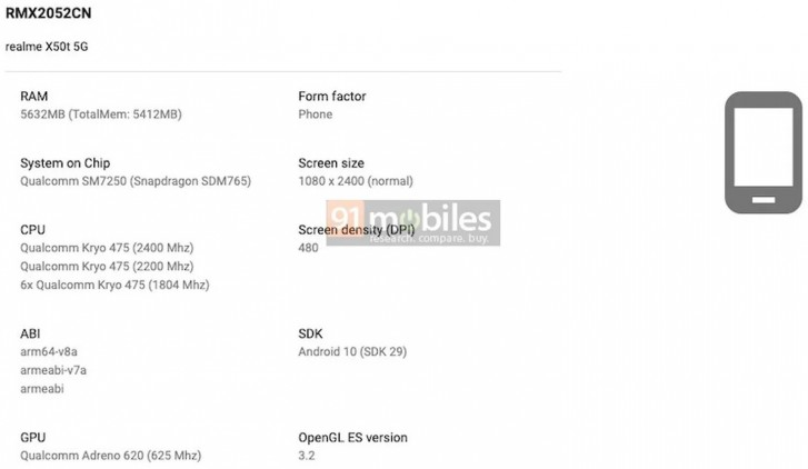Realme X50t appears on Google Play Console with key specs