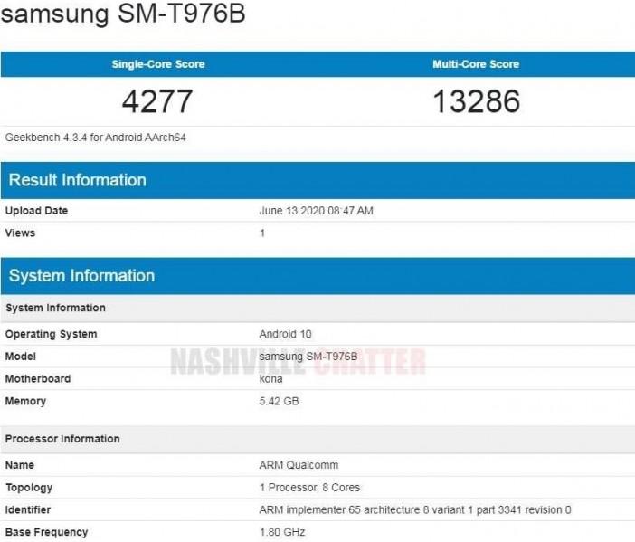 Samsung Galaxy Tab S7+ key specs revealed by Geekbench