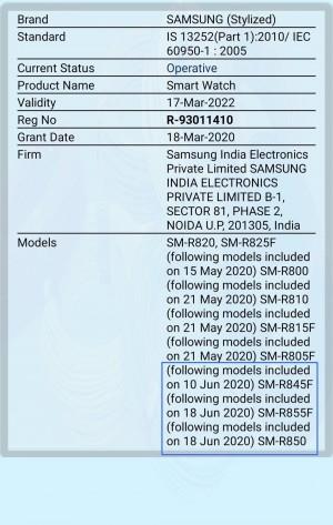 Samsung Galaxy Watch 3 BIS certification