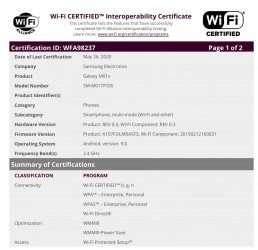 Samsung Galaxy M01s Wi-Fi certification and GeekBench run