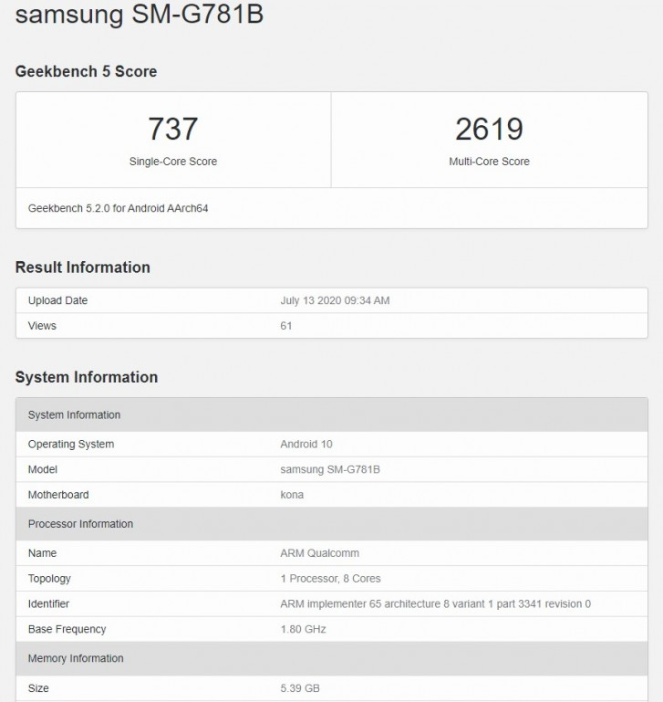 Samsung Galaxy S20 Lite appears on Geekbench with Snapdragon 865