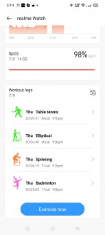 Realme Watch settings in Realme Link app