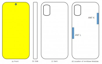 Samsung Galaxy A71s UW schematics: mmWave antenna placement