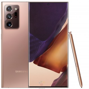 Samsung Galaxy Note20 Ultra with S Pen in Mystic Bronze color