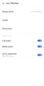 vivo TWS Neo interface on vivo NEX 3