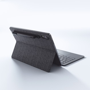 The keyboard add-on, folio case with kickstand and the stylus