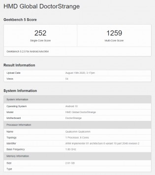 Geekbench 5 results: Nokia 3.4 (Doctor Strange)