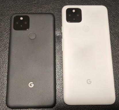 Pixel 5 (black) and Pixel 4a 5G (white) alongside their specs