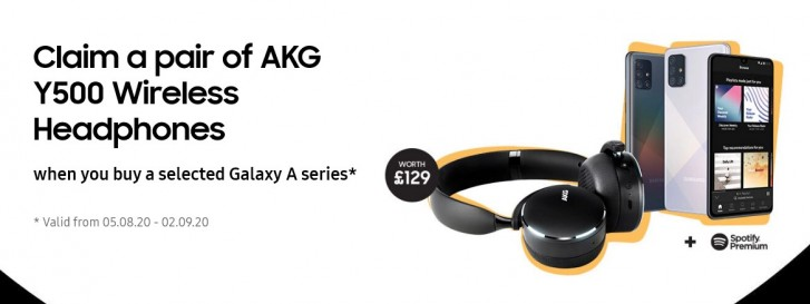 Samsung UK offering free AKG Y500 headphones with purchased of Galaxy A41, A51, and A71