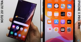 Screenshots from the video, showcasing how both phones performed in the drop tests