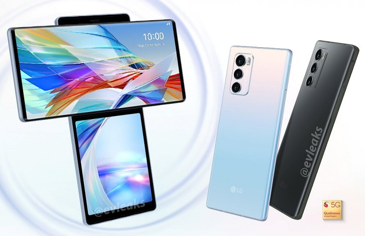 LG Wing render surfaces, shows out the back too