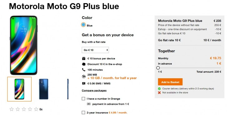 Moto G9 Plus listed on mobile operator's website, specs and price in tow