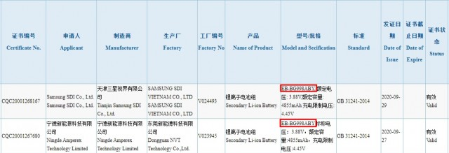 Galaxy S21 Ultra battery listing