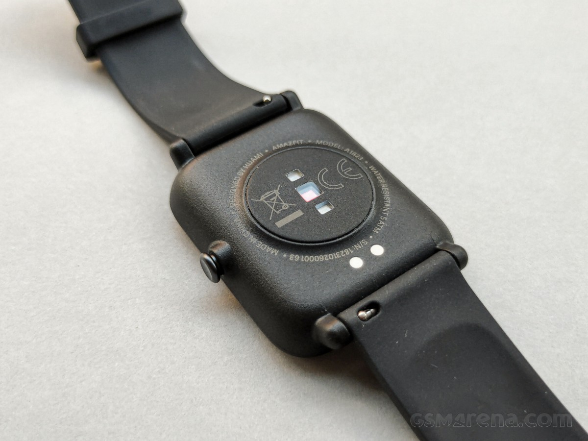 Charging pins and PPG Bio-Tracking Optical Heart Rate Sensor on Amazfit Bip S Lite