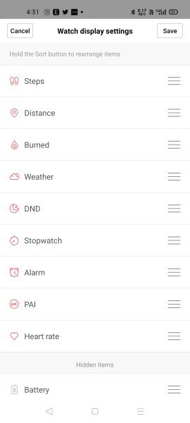 Watch display settings