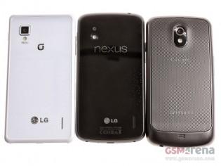 LG Optimus G (слева) - Nexus 4 (в центре) - Samsung Galaxy Nexus (справа)
