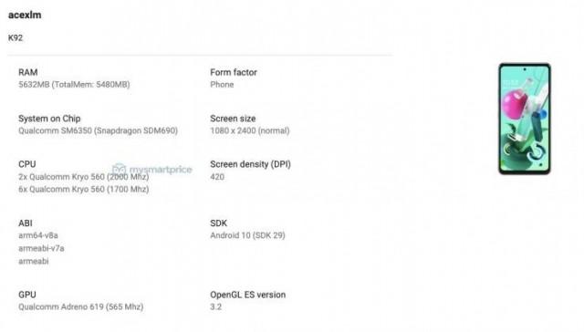 LG K92 listing on Google Play Console