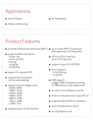 Технические характеристики датчика OmniVision OV64A: 1 / 1,34