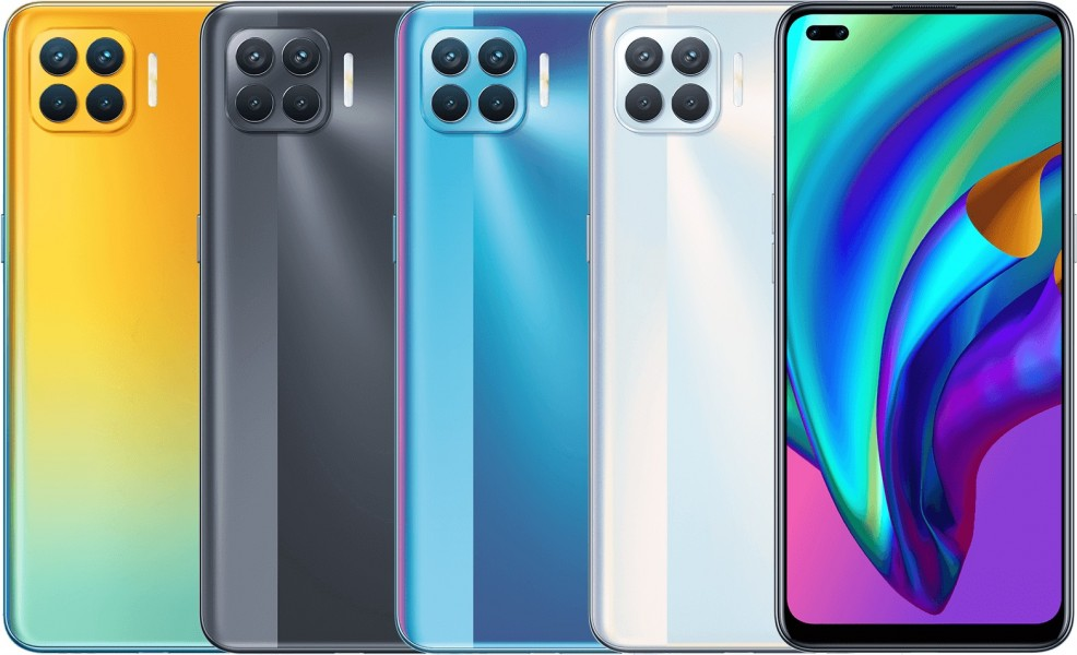 F17 Pro Diwali Edition with Matte Black, Magic Blue, and Metallic White variants (left to right)