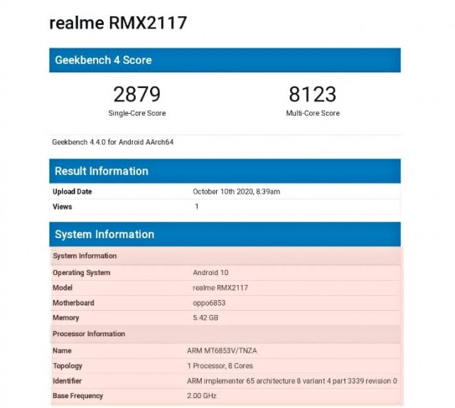 Relame Q2 GeekBench run
