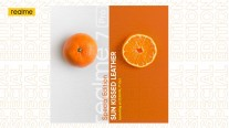 Realme 7 Pro with orange leather back
