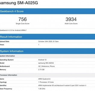 Samsung Galaxy A02s on Geekbench
