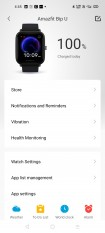 Amazfit Bip U data and settings in Amazfit's Android app