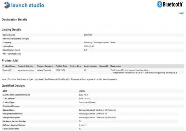 Exynos 981 Bluetooth SIG listing