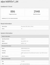 GeekBench 5: MT6893