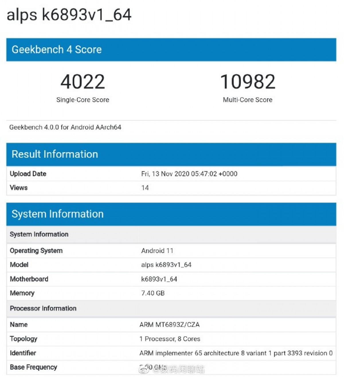 MediaTek MT6893's single-core performance higher than Dimensity 1000+