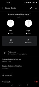 OnePlus Buds UI is integrated within the Bluetooth settings