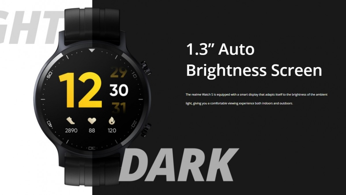 Realme Watch S goes official: 1.3'' screen, IP68 rating, and 15-day battery life