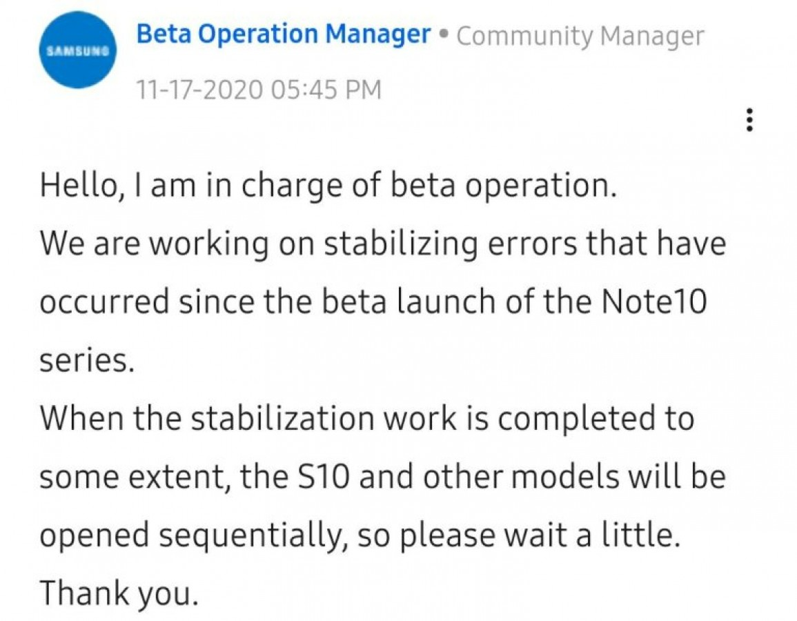 One UI 3.0 beta