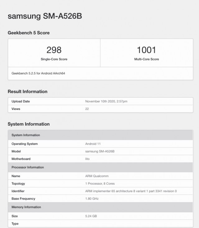 Samsung Galaxy A52 5G Geekbench scorecard