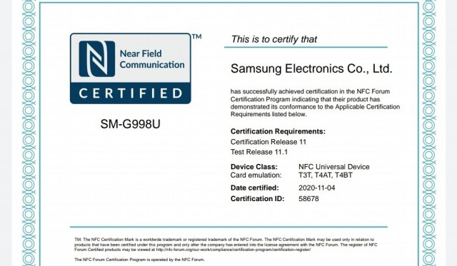 Samsung Galaxy S21 Ultra NFC certification