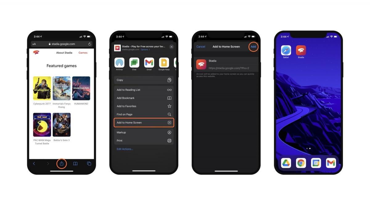 Google Stadia officially available on iOS via web app