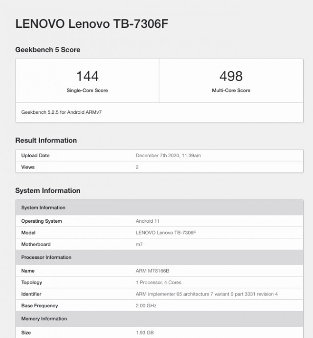 Lenovo TB-7306F Geekbench listing